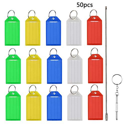 ilder Set,MEZOOM Kunststoff Schlüsselanhänger ID Label Tags zum Beschriften in sortiert Farben mit Stahldraht + Werkzeug Tool ()