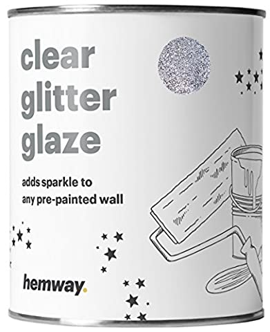Hemway 1L Clear Glitter Paint Glaze (Silver) for Pre-Painted Walls,