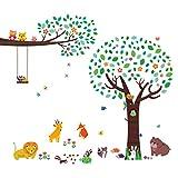 Decowall DM-1312P1410 Groß Baum Eulen Zweig Waldtiere Tiere Wandtattoo Wandsticker Wandaufkleber Wanddeko für Wohnzimmer Schlafzimmer Kinderzimmer