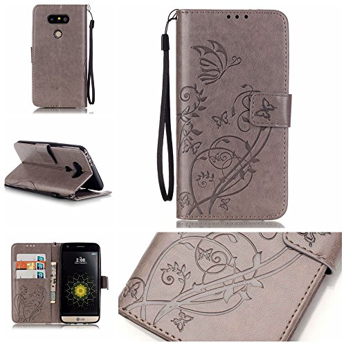 Qiaogle Telefon Case - PU Leder Wallet Schutzhülle Case für Apple iPhone 7 (4.7 Zoll) - YB07 / Fashion Blau & Blumen YB01 / Fashion Gray & Blumen