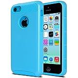 Carcasa iPhone 5c, ULAK Funda doble capa del silicona de alta resistencia del Carcasa de Shell para el iPhone 5c con Protector de pantalla (azul + azul)
