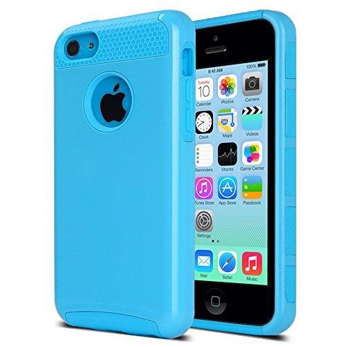 ULAK - iPhone 5C Cover, Case Cover duplice ibrido per iPhone 5C. Cover duro per iPhone 5C stampato Design PC+ Silicone ibrido impatto grande Difensore custodia Combo duro morbido Cases Covers (Blu) Armatura-Blu