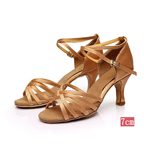 Wxmddn Donna di ballo latino luce di scarpe di pelle di colore scarpe da ballo 7cm soft suole di scarpe da ballo satin indoor scarpe da ballo quattro stagioni Luce di colore di pelle 7cm
