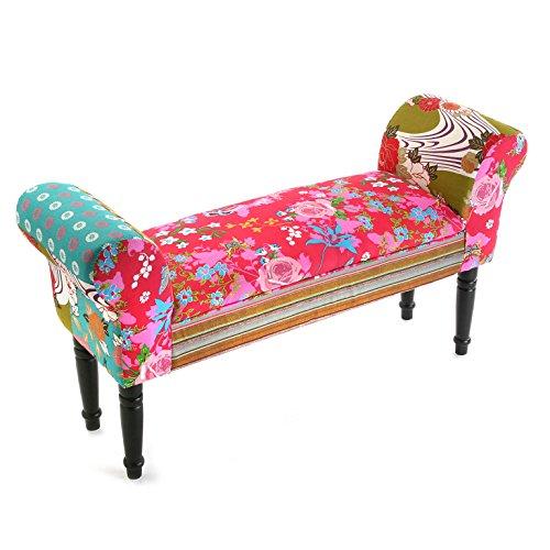 Versa 19500285 Panca da camera da letto Pink Patchwork,53x32x100cm,Bracciolo