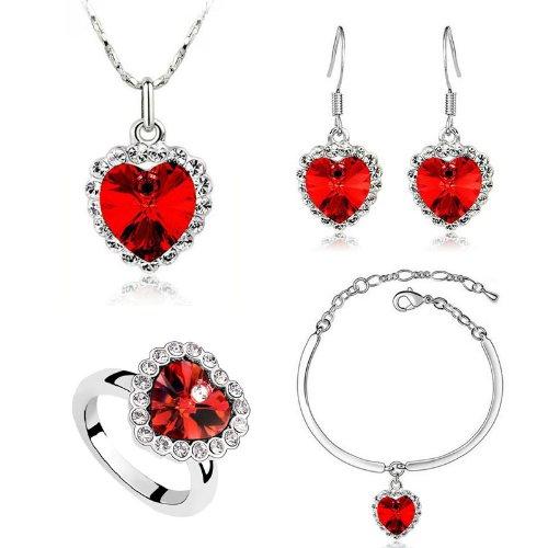 Romantic Dark Red Hearts-Set orecchini, bracciale, collana e & S341 Anello regolabile
