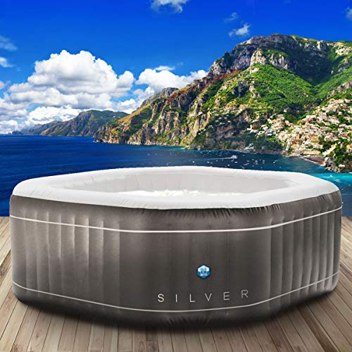 "Whirlpool Netspa \""SILVER\"" aufblasbar 5 Personen 195x195cm 130 Massagedüsen Heizung Aufblasfunktion per Knopfdruck 850l Wellness Massage"