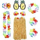 Juego de 8 Piezas Falda de Hierba Hula Hawaiana con Collar Pulsera Diadema Sujetador de Flor Clip de Pelo y Gafas de Sol de Piña Decoración de Fiesta
