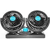 Xcellent Global Ventilador de Refrigeración de Doble Cabezal Giratorio 12V Auto Ventilación Silenciosa con Diseño Seguro para Niños AT015