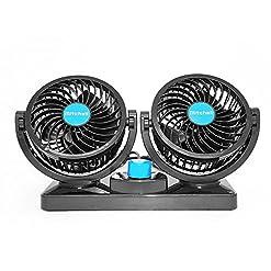 Xcellent Global Doppio Mini Ventilatore Rotante per Auto 12V Silenzioso con Design Salva Bimbo AT015