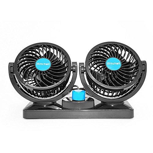 Xcellent Global Ventilador de Refrigeración de Doble Cabezal Giratorio 12V Auto Ventilación...