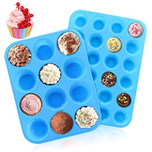 INTVN Silikon Muffinform 12-Tasse & 24-Tasse Muffin Tabletts Silikon Muffinbleche Cupcake BackPfannen mit 100 Stück Cupcake Wrapper Papierbackförmchen (Tassen Silikon Cupcake)