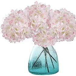 MEIWO Künstliche Blumen, 2 Pcs Real Touch Latex Künstliche Hydrangea Seide Blumen in Vasen für Hochzeit Dekor/Home Dekor/Party / Graves Arrangement(Rosa-Weiß)