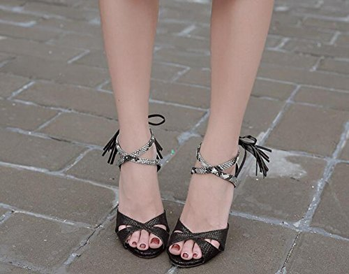 PBXP Limited Edition Ankle Krawatten Charmante Hochzeit Peep Toe Quasten Dekoration Sandalen Hollow Stiletto High Heel Casual Nightclub Bar Sandalen Black