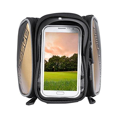 """Fahrradtasche Fahrrad Rahmentasche, Frarradschnalletasche Farhradlenkertasche mit 3 Taschen für Mountain Bike, Fahrrad Handy Tasche mit klaren PVC-Schirm passend bis zu 6"""" Bildschirm, 18*12.5*4cm Gold"""