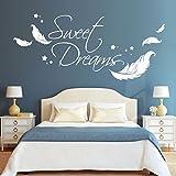 Wandtattoo-Loft Wandaufkleber Schriftzug Sweet Dreams Zitat mit Federn und Sternen / 54 Farben / 3 Größen/schwarz / 55 cm hoch x 125 cm breit