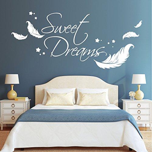 federn wandtattoo Wandtattoo-Loft Wandaufkleber Schriftzug Sweet Dreams Zitat mit Federn und Sternen / 54 Farben / 3 Größen/weiß / 80 cm hoch x 182 cm breit