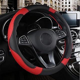 Steering Wheel Cover Auto Lenkradabdeckung Leder 38Cm Lenkradabdeckung Auto-Styling,Red