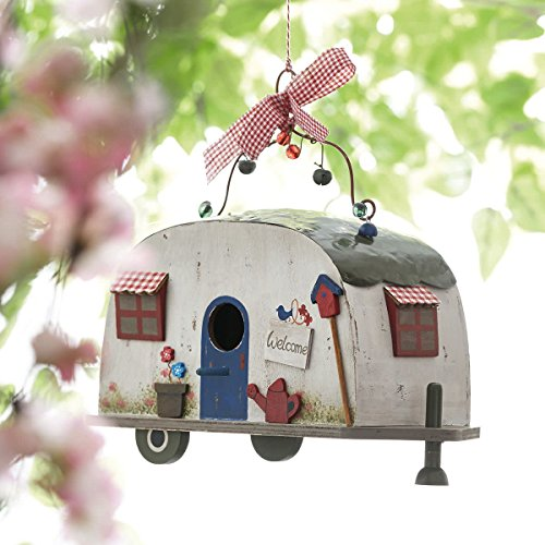 Vogelhaus Wohnwagen Camper zum Hängen Holz Blechdach - 6