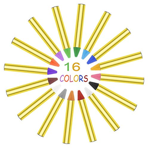 Box Kostüm Crayon - WSJDE Gesichtsbemalung Buntstifte Körperbemalung Pastell Stift 16 Farben Stick Für Kinder Halloween Party Makeup Clown Ghost Devil Für Kind
