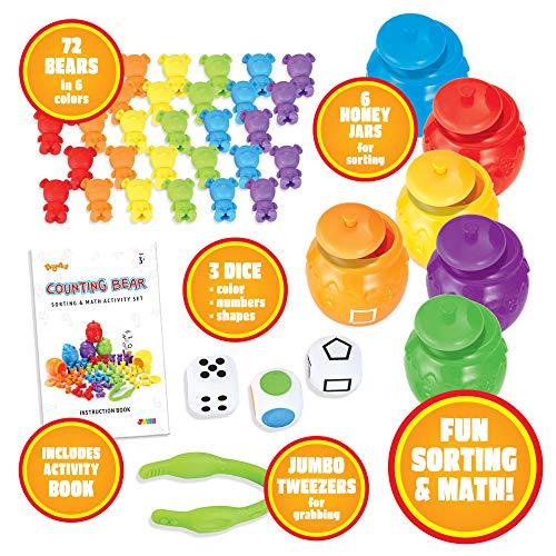 JOYIN Play- Act Infantil Juguetes Montessori 72pcs Osos Colores y 6 Latas de Abeja Juguetes Educativos