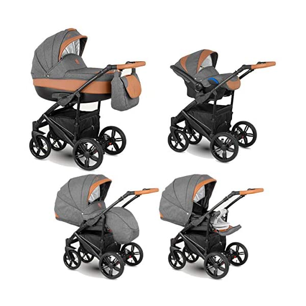 Lux4Kids Stroller Pram 2in1 3in1 Isofix Car seat 12 Colours Free Accessories Leo Grey Choc BA-1 3in1 with Baby seat Lux4Kids Lux4Kids Leo 3in1 or 2in1 pushchair. You have the choice whether you need a car seat (baby seat certified according to ECE R 44/04 or not). Of course the car is robust, safe and durable Certificate EN 1888:2004, you can also choose our Zoe with Isofix. The baby bath has not only ventilation windows for the summer but also a weather footmuff and a lockable rocker function. The push handle adapts to your size and not vice versa, the entire frame is made of a special aluminium alloy with a patented folding mechanism. 1