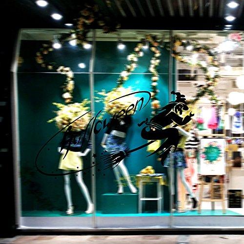 Wandtattoo Fliegender Besen Hexe Wandaufkleber, Dekoration für Ihre Wohnung, Wohnzimmer-Deko Blume, Wanddeko 58x 32 cm