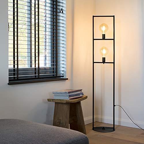 Raelf Industrie/Art Deco Stehlampe Industriestehleuchte 2-Light Black-Einfach Käfig Stahl Rechteckige E27 max.Innen 2 Köpfe Beleuchtung Stehlampe Wohnzimmer Nachttischlampe [Klasse A Energie]