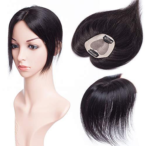 r Extensions Haarteil Toupet Frauen Haarverlängerung Topper Hair Damen Silk Base Remy Echthaar #1B Naturschwarz 12