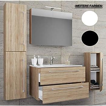 waschplatz badmobel badezimmer set waschtisch waschbecken schubladen keramik badinos spiegelschrank breite 80 cm sonoma eiche