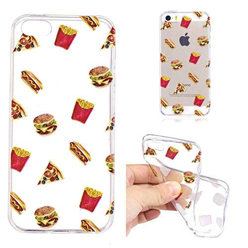 iPhone 5S / iPhone SE Hülle, Voguecase Silikon Schutzhülle / Case / Cover / Hülle / TPU Gel Skin für Apple iPhone 5 5G 5S SE(Einhorn 07) + Gratis Universal Eingabestift Hamburger 01