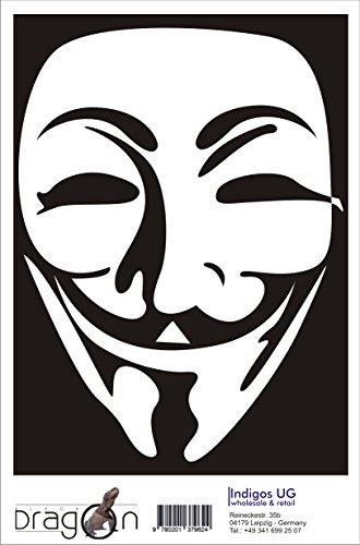 Aufkleber / Autoaufkleber - JDM / Die cut - Anonymous Maske - 120x160 mm weiß