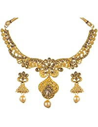 Trendtales Gold Plated Necklace Set Jewelry For Women With Jhumka Flower Earrings A209