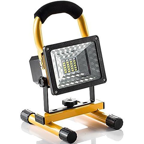 Foco LED Reflector 15W GrandBeing, Lámpara Camping & Foco LED Reflector para Trabajo Exterior, Lámpara Proyector LED Recargable, Luz Portátil para Trabajo de Noche, Iluminacion Exterior del Jardín al Aire Libre, Patio, Terraza, Pescado, Camping -