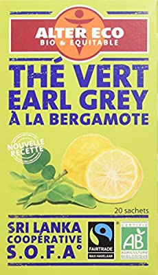 Alter Eco Thé Vert Earl Grey Ceylan Bio et Équitable 20 infusettes - Lot de 4