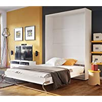 Arthauss Modern Bedroom Vertical Fold Away Pull Out Murphy Bed in White Matt in 3 Sizes sold (140 x 200cm)