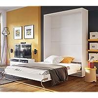 Arthauss Modern Bedroom Vertical Fold Away Pull Out Murphy Bed in White Matt in 3 Sizes sold