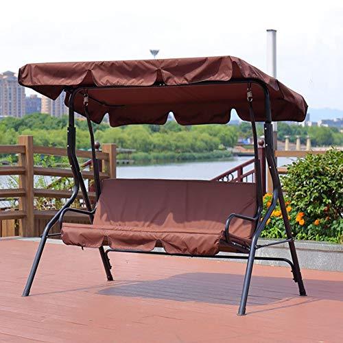 ZDYLM-Y Hollywoodschaukel Gartenschaukel 3 Seater-Schaukelsitz mit Überdachung Bank Möbel Lounger Shelter Canopy Patio Outdoor, Brown