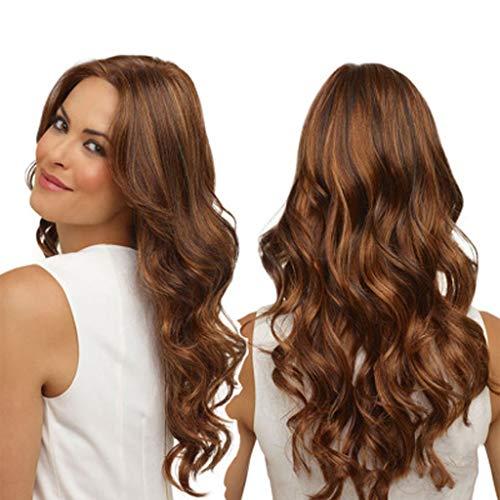 serliy Mode-synthetische lange gewellte braune Steigung, die natürliche Haar-volle Perücken färbt