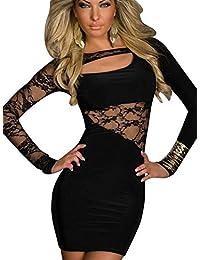 Keral Damen Langärmelige Splice Nightclub mini Spitze Kleid