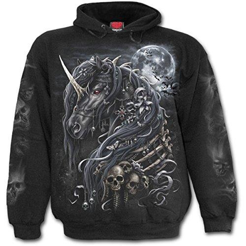 Dark unicorn, maglia da uomo in fantasia unicorno in metallo gotico con cappuccio nero - l - spiral