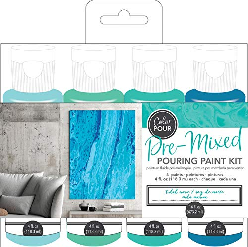 American Crafts Color Pour Pre-Mixed Paint Kit 4/Pkg-Tidal Wave - Ink Mixing Kit