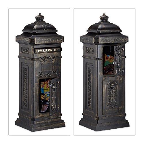 Relaxdays Standbriefkasten Antik HBT: 106 x 38 x 34 cm nostalgischer Säulenbriefkasten aus rostfreiem Aluminium englischer Briefkasten Postkasten in britischem Design mit Posthorn, bronze - 5