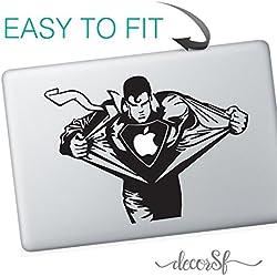 Superman MacBook Sticker–adhesivos para MacBook–/de vinilo negro mejor pegatinas/Vintage/Bigote/Hipster–Movie
