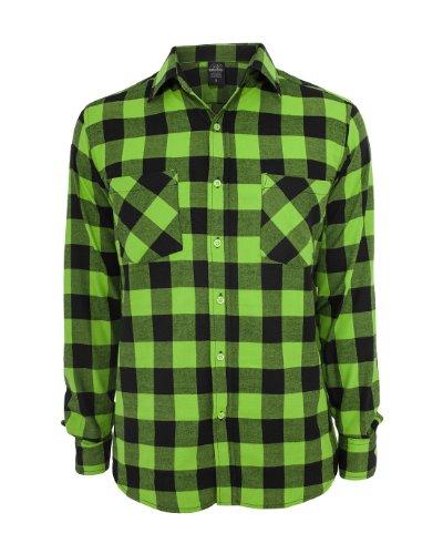 Urban Classics Checked Flanell Shirt black-limegreen - S (Holzfäller Kostüm Männer)