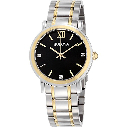 Bulova Men's Diamond 40mm Two Tone Steel Bracelet Quartz Analog Watch 98D138
