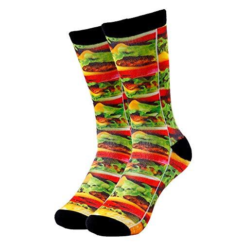 WZYDGKE 5 Paar socken Super Burger Druck Männer Und Frauen Arbeiten Lustige Socken 3D Gedruckt Socken 200 Stricken Ölgemälde Kompressionssocken