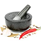 from H and S UK H&S Pestle and Mortar Set Premium Solid Granite Stone Large Black - 16cm(6.3) Diameter