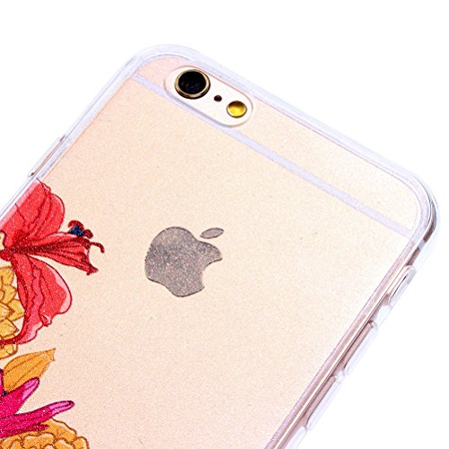 IPhone 6 Plus/6S, Vioela, motivo: fata dei fiori, design a farfalla, colore: trasparente-Con custodia rigida posteriore trasparente, Ultra sottile, in Silicone, per iPhone 6 Plus/6S, 11,94 cm (4,7) c - Flower #5