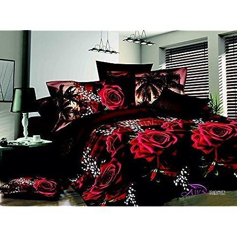 Rosa rossa 4 pezzi copripiumino letto, King Size 3d set di biancheria da letto , 100 % cotone, include 1 copripiumino , 1 lenzuolo , federa 2 * , non include alcun Riempitivo o Consolatore - Stampa 4 Pezzi Cotone