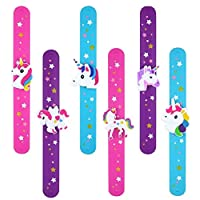 Henbrandt 6pc Unicorn Snap Slap Bracelet Wrap Silicone Wristband Girls Party Bag Filler Toy